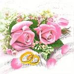 Ubrousky - růžové růže a zlaté prstýnky