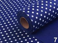 Plsť tm.modrá s bílými puntíky - 1m