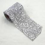 Jutová stuha šedá - bílý tisk - 5m