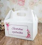 Krabička na výslužku s ouškem - vintage dřevodekor s květy