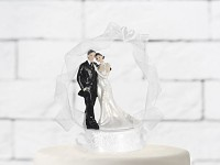 Svatební figurka na podstavci - krystalové srdce