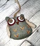 Textilní sovička - zeleno-šedá