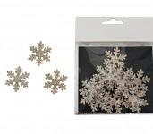 Sněhové vločky glitr - bronzové - 18ks