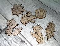 Podzimní dřevěný mix se zvířátky - 6ks