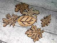 Podzimní dřevěný mix - listy - 6ks
