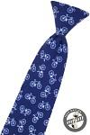 Kravata chlapecká - modrá s bicykly