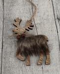 Sob dřevěný závěs s kožešinou - natur