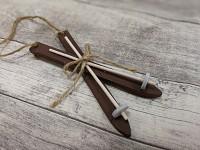 Lyžařský set dřevěný hnědý - závěs 12,5cm