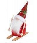 Figurka plyš Santa na lyžích - 13 cm
