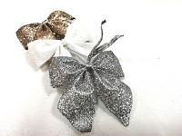 Mašlička mini glitter - stříbrná
