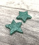 Hvězdička malá plochá - mátová glitter - 1ks