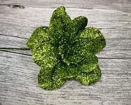 Květina glitr - zápich - zelená