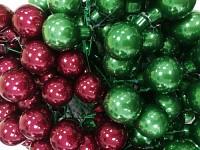 Baňky na drátku vánoční zelená 25mm- lesklé