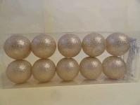 Světelný řetěz koule šedo-bílé - 10ks