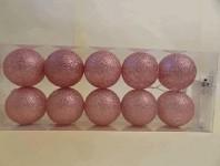Světelný řetěz koule růžové glitr - 10ks