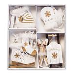 Dřevěné zimní dekorace bílo-zlaté 10ks