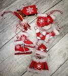 Dřevěné zimní dekorace červeno-bílá 10ks