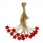 Hvězdička dřevěná mini červená - na provázku 1ks