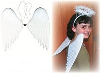 Anděl bílý patina 31 cm - měděná křídla