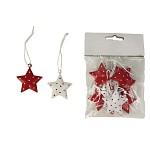 Vánoční závěs kovový - hvězdička červeno-bílá