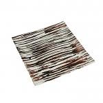 Aranžovací tác skleněný - čtverec 19,5cm - hnědostříbrný
