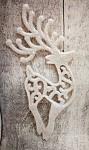 Jelen závěs - glitr bílý dutý ornament