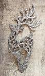 Jelen závěs - glitr stříbrný dutý ornament