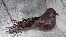 Ptáček natur - tmavě starorůžový