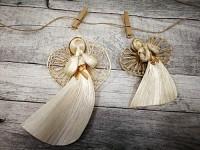 Anděl šustí závěs krémovozlatý- 15cm