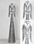 Anděl plechový se srdíčkem krajkový stříbrný -  55 cm