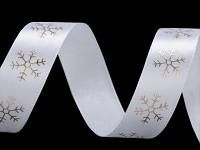 Stuha saténová bílá se zlatými vločkami - 20mm/1m