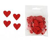 Dřevěná srdíčka (knoflíčky) - červená - 24ks
