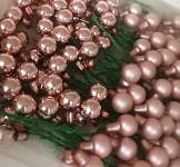 Baňky na drátku sv.růžové 15 mm - 1ks - lesklé