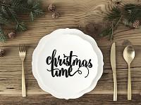 Papírový výsek - nápis Christmas time - černý - 1ks