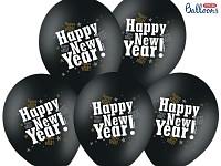 Balonek -metalický černý happy new year