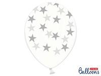 Balonek - průhledný se stříbrnými hvězdami - 6 ks