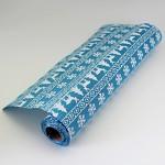 Modrá jutová šerpa - bílý norský vzor - 1m