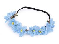 Pružná čelenka s modrozelenými velkými květy