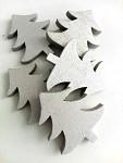 Dřevěné stromečky stříbrné 5ks