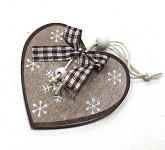 Dřevěné srdce ZLATÉ škrábané - závěs