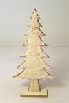 Strom dřevěný s vločkami bílý - 30 cm