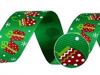 Vánoční stuha  6mm/10m - hvězdičky- zelená
