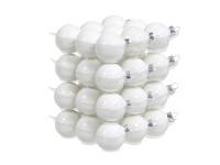 Baňky sklo závěs - 38 mm - bílá perleť