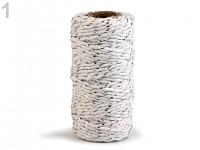 Bavlněný provázek s lurexem - bílo-stříbrný