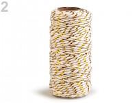 Bavlněný provázek s lurexem - bílo-zlatý