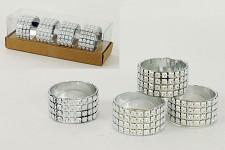 Diamantový kroužek na ubrousky stříbrný - 4ks