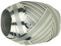 Vázací stuha glitter - dárková - stříbrná 10m