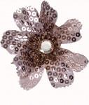 Květ kávový s flitry a kamínkem na klipu