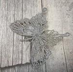 Motýl velký stříbrný brokát  - zimní s klipem