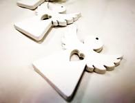 Andílek dřevěný bílý - přízdoba